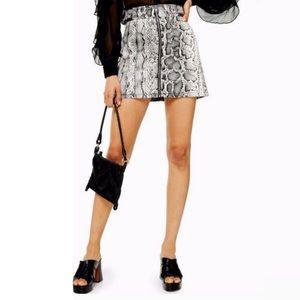Topshop leather snakeskin skirt 2 S